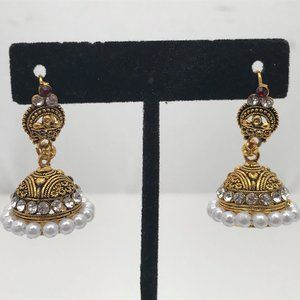 Jhumka Gold Tone Crystal Accents Earrings Ethnic